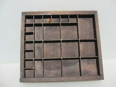 Vintage Wooden Printers Drawer Storage Tray Compartments Vintage Old -A0972