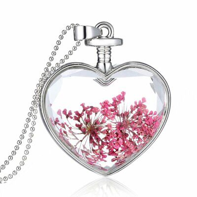 Fashion Real Dried Flower Glass Locket Pendant Necklace Women Wedding Jewelry