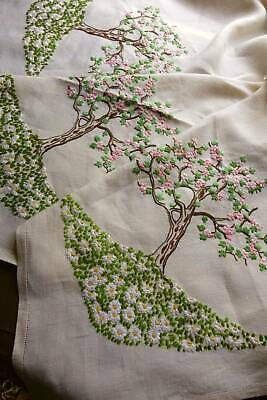 Vintage Irish linen hand embroidered tablecloth  - Spring Blossoms & Trees.