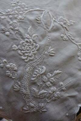 Antique large Irish linen hand embroidered tablecloth Peony Prunus & Butterfly