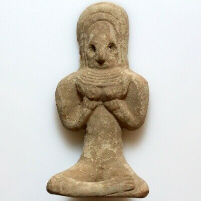 Rare Near Eastern Indus Valley Fertility Terracotta Idol Statue Circa 500 Bc