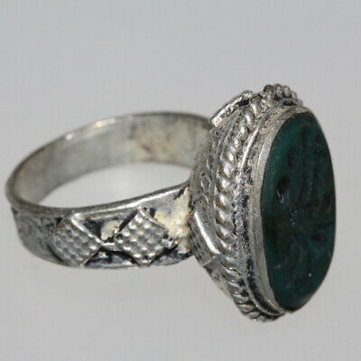 Late Post Medieval Silver Plated Seal Ring With Nice Stone Ca 1600 Ad