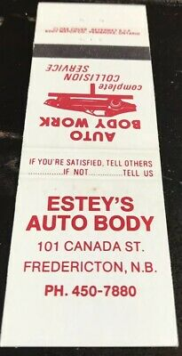 Matchbook Cover Estey's Auto Body Fredericton N.B.