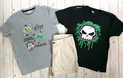 12 13 Years H&M No Fear Tops Shorts Boys Trendy Summer Holiday Clothes Bundle