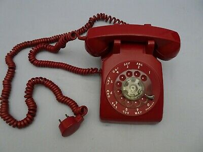 Telephone Bell System CD500 Rotary Dial Red Desk Top Phone Vintage 1973 w cords