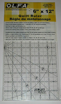 """OLFA Non Slip Frosted Acrylic Quilting Ruler 6"""" x 12"""" Fabric Paper QR-6x12"""