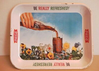 Coca Cola COKE Tin Tray Vintage 1970's Flowers & Glass Bottle AD Square