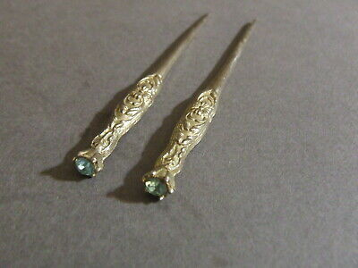 Pair Of Vintage Victorian Art Nouveau Blue Rhinestone Gold Tone Stick Hair Pin