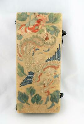 Antique Chinese Silk Embroidered Embroidery Dragon Glove Jewel Box Qing Dynasty