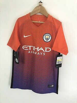 16/17 Manchester City Third Away Kit Top Shirt 8-10 Yrs Brand New With Tags £37