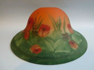 Vintage Antique Reverse Paint Floral Glass Ceiling Light Cover Lamp Dome Shade