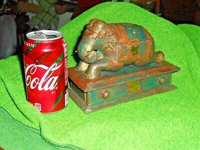 Vtge Antique Elephant Spice Apothecary Wood/Brass Box Hand Carved