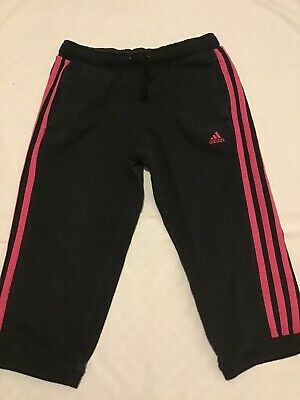 BLACK CROPPED SPORTS LEGGINGS 9-10 Yrs ADIDAS Pink Trim