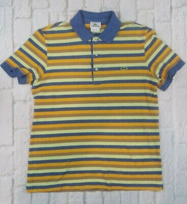 Lacoste Boys Size 3 Short Sleeve Polo Multi-Color Stripe Shirt