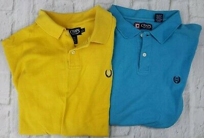 Chaps Men's Size XL Short Sleeve Polo Shirt 2 Button Yellow/Teal (LOT OF 2)
