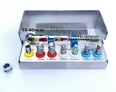 Dental Implant 10-40 ncm Torque Wrench Ratchet Kit with Drivers & Bur Holder CE