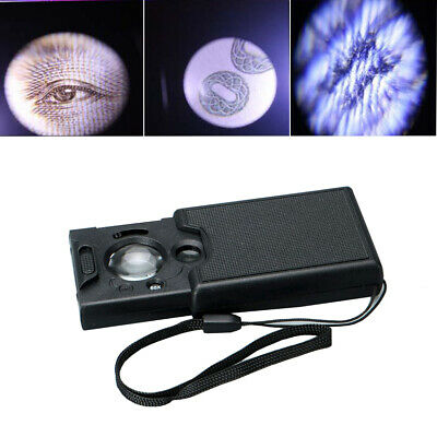 LED Mini Jewelry Magnifier Glass 30X 45x 60x Loupe UV Light Magnifying Currency