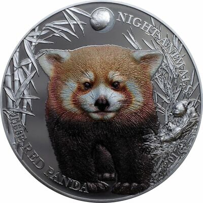 2017 $5 Cook Islands Red Panda 1oz .999 Silver Black Proof Coin
