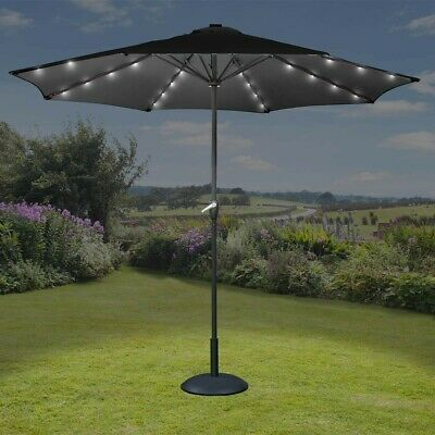 Led Garden Parasol Solar Umbrella Lights Sunshade Grey / Taupe.3M  2.5M Rrp £70