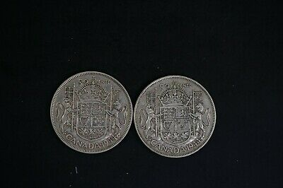 Canada two 1944  50c KGVI silver coin F/VF condition with 0.600oz ASW (k168)