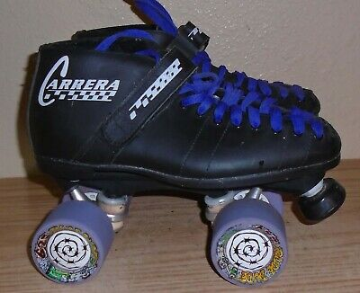 Riedell Carrera Black Speed Roller Skates Size 7 Rude Dude