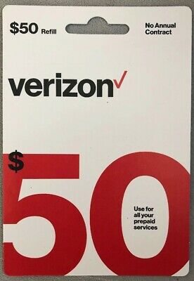 Brand New $50 Verizon Wireless Prepaid Refill Card - Instant Email Delivery