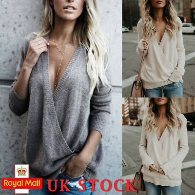 UK Womens Ladies Sexy Knitted Wrap Top Long Sleeve Loose Jumper Sweater Pullover