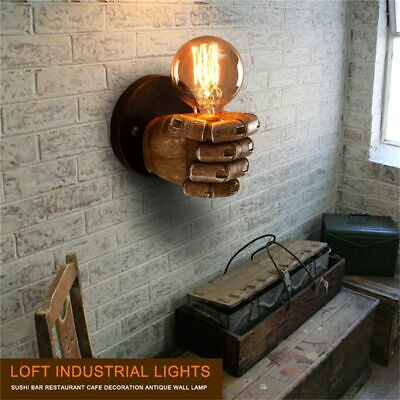 5X(1 pair of left and right hand retro creative fist resin wall lamp Loft i2Z1)