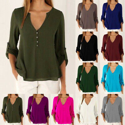 UK Womens V neck T Shirt OL Ladies Tee Long Sleeve Loose Blouse Chiffon Tops Fit