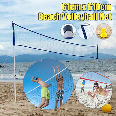 Outdoor Sports Adjustable Beach Volleyball Net System Portable Set W/ Carry Bag