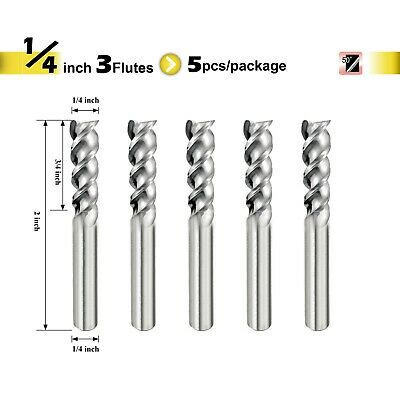 "[SPEED TIGER] IAUE Carbide End Mill for Aluminum - 3 Flute - Shank 1/4"" - 5pc"