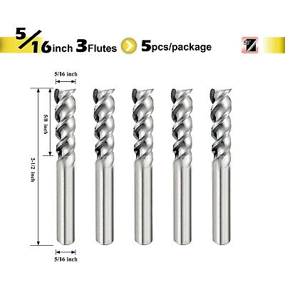 "[SPEED TIGER] IAUE Carbide End Mill for Aluminum - 3 Flute - Shank 5/16"" - 5pc"
