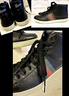 ecb60bfdc GUCCI Men's Black Leather Green/Red Stripe Mens High Top Sneakers Sz. 9 1