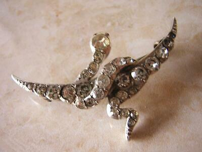 Victorian Snake & Moon Brooch In Silver Paste With Ruby Eye  Re Born Or Re Birth