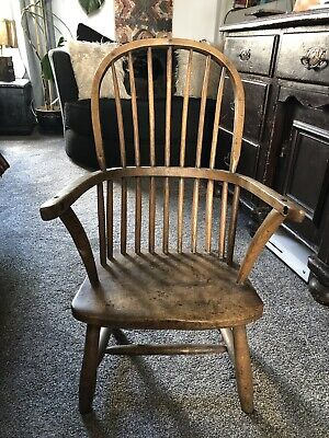Antique Victorian spindle back Windsor child's chair elm ash shortened