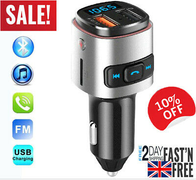 Bluetooth Wireless Handsfree Car FM Transmitter MP3 Player dual USB Charger UK