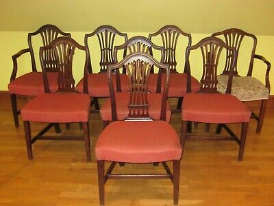 A Set Of 8 George Iii Mahogany Dining Chairs Inc 2 Elbow Chairs Circa 1780