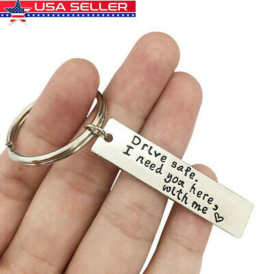DIY Stainless Steel Keychain Drive Safe I need you here with me Print Key Chain