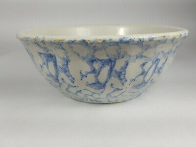 "ANTIQUE Blue & White SPONGEWARE STONEWARE 7 1/4"" BOWL Early 1900's Pottery"