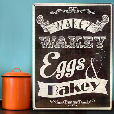 Wakey Eggs & Bacon Kitchen & Home Metal Wall Sign Plaque Art 300x410mm 50044