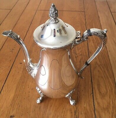 Vintage Viners Silver Plated Coffee Pot Floral Footed Art Nouveau Style Cafe