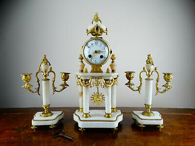 Antique Victorian French Louis XIV Portico Mantel Clock Garniture in Gilt Marble
