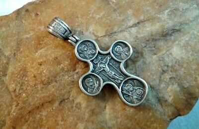 Vintage Sterling Silver Orthodox Crucifix Christ Almighty, Evangelists, Psalm 68