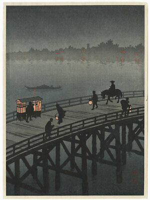 Night View of Ohashi Bridge; ORIGINAL Koho Shoda Japanese print