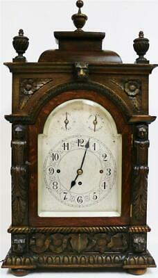 Antique English Highly Carved Oak Triple Fusee Musical 8/4 Bell Bracket Clock