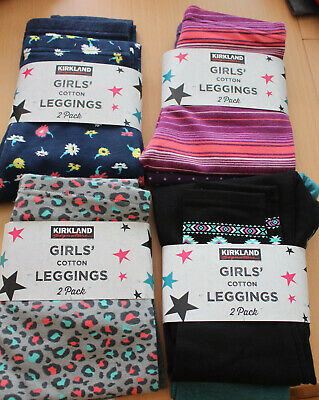 2 Pack Girls Kirkland Cotton Leggings Ages 4 - 12 Various Patterns Bnwt