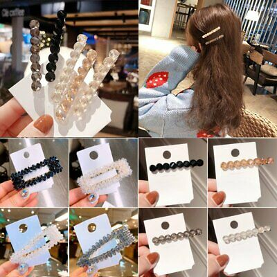 Women's Girls Crystal Hair Clip Snap Barrette Hairpin Bobby Hair Accessories
