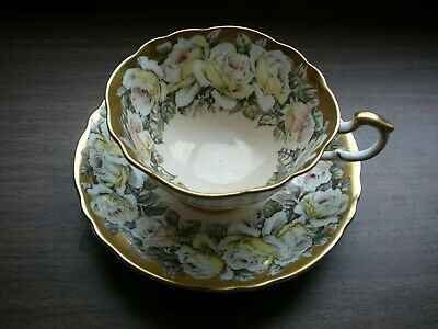 Lovely Paragon Cup & Saucer Large Floral Roses Peach & Gold Perfect
