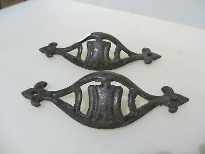 Large Vintage Wrought Iron Drawer Cup Handles Cupboard Pulls Shell Old Fleur