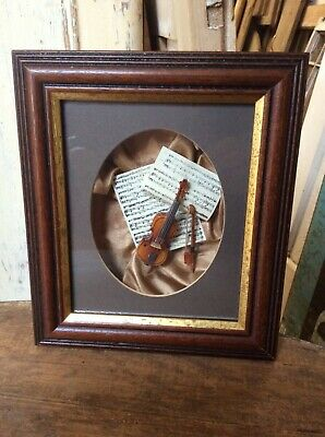 Delightful Picture With Violin Bow Sheet Music In Boxed Wooden Frame 20 X 17.5cm
